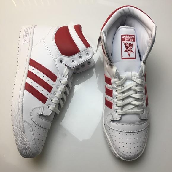 Adidas Top Ten Hi Red White Sneakers